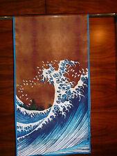 Crepe de chine long silk scarf Print of Hokusai's Great wave of Kanagawa   NEW