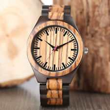 Men Women Casual Nature Wood Bamboo Trendy Simple Wrist Watch Fold Clasp Fashion