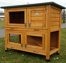 RABBIT HUTCH GUINEA PIG HUTCHES RUN RUNS LARGE 2 TIER DOUBLE DECKER CAGE