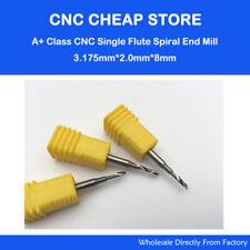 5pcs 1/8'' HQ Single flute spiral CNC router Cutting bits 3.175 x2mm x 8mm