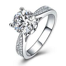 Trendy Fashion Size 8 Bridal Womens 18K Gold Filled White Topaz Engagement Ring