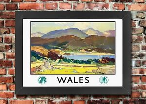 TT99 Vintage Wales GWR LMS Railway Travel Framed Poster Re-Print A3/A4