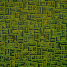 Textured Lime Green Blue Gold Geometric Woven Crypton Upholstery Fabric 0574650