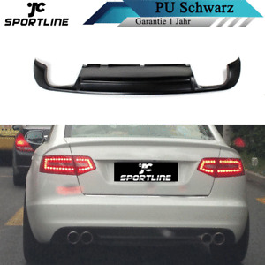 PU Schwarz Heckdiffusor Passt für Audi A6 2010-2011 Spoiler Heckansatz Diffusor