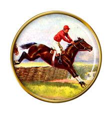 Horse Racing over Hurdles Pin Badge