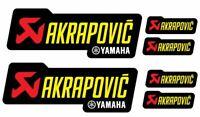 6 Adesivi Stickers AKRAPOVIC YAMAHA Racing resistente al calore giallo