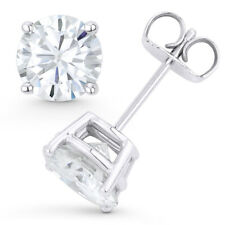 Round Cut Forever ONE DEF Moissanite 14k Y Or W Gold 4-Pr PushBack Stud Earrings