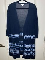 J.Jill Large Blue Linen Blend Cardigan Sweater 3/4 Sleeve Stripe Women's
