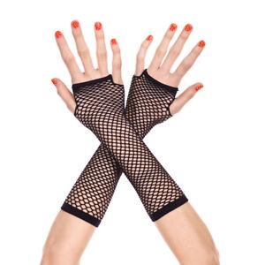 Neon Fishnet Fingerless Long Gloves Leg Arm Cuff Goth Punk masque(Color: Black)
