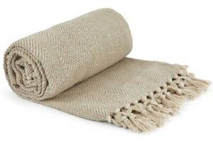 100% Cotton Herringbone Throw Natural Stone Fringe Tassel Sofa Bed Chair Blanket