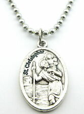Saint Christopher Medal Protector of Travel, Silver Plated No Tarnish Chain