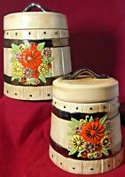 Vintage Ceramic Look Wooden Barrel Canisters Containers Cookie Jars Lids Flowers