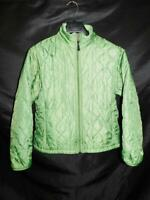 LL Bean M Green Quilted Coat Full Zip Fleece Lined Thinsulate Winter Jacket Md