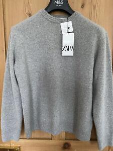 Zara Grey Cashmere Knitwear Sweater, Size S BNWT RRP £95.99