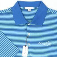 "Peter Millar Men XL 50"" Adeptus Health Golf Polo Shirt Blue Stripe Cotton Texas"