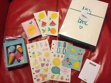 NEW Kikki K Teal Medium Planner NEW + Eraser Stickers Binder Agenda Post It note