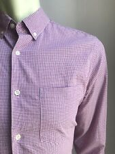 Steven Alan Shirt, Mini Gingham Check, Red-Purple, Medium, Exc Cond
