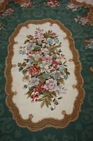 "Aubusson 11' 3"" x 8' 3"" Needlepoint Large Area Rug 136"" x 99"" Green Burgundy"