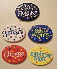 30th Birthday Decor 5 pc Ceramic Stones Paperweights Party Thirty and Holding