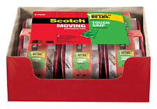 Scotch Tough Grip Moving Packaging Tape, 1.88 in. x 22.2 yd, 1.5 in Core, 6 with