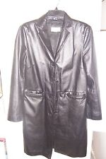 HENNES womens black LEATHER jacket /COAT TRENCH STYLE SZ4 BUTTONS EX-CON Look-c