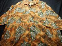 Joe Marlin Brown Green Large Button Short Sleeve Men's Shirt