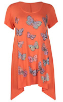 Plus Size Ladies Butterfly Print Short Sleeve Hanky Dip Hem T-Shirt Tunic Top