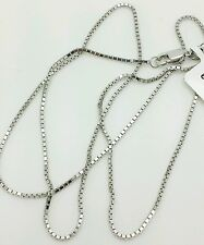 """14k Solid White Gold Box Link Necklace Pendant Chain 24"""" 1.0mm"""