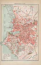Landkarte city map 1894: Stadtplan MARSEILLE. Süd-Frankreich france Europa