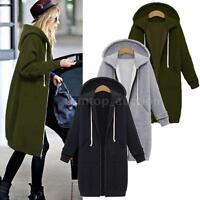 New Womens Zip Long Hooded Sweatshirt Plus Size Zipper Hoodie Jacket P6M4