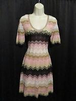 Missoni Zig Zag Knit Dress Colorful Lined Slip Size 44 Italian Sizing