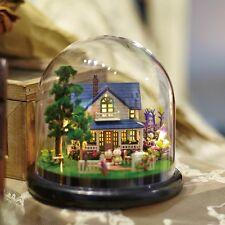 Mini Glass DIY Wooden Dollhouse Kit &LED light / Romantic Manor& Music Box