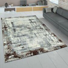 Teppich Wohnzimmer Grau Braun Used Look Kurzflor Abstraktes Gemälde Design