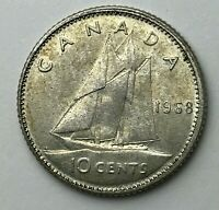 Dated : 1968 - Silver Coin - Canada - 10 Cents - Ten Cents - Queen Elizabeth II