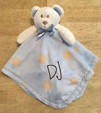 Blankets & And Beyond Plush White Bear Blue Blanket Lovey Brown Polka Dots 'Dj'