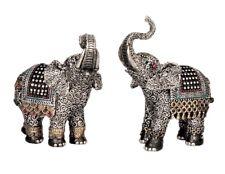 2 Elefanten Figuren mit Glitzersteinen 16 cm Elefant Asia Tierfigur