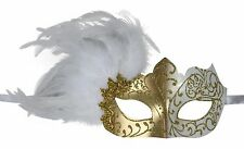 KAYSO INC Elegant Mardi Gras Venetian Masquerade Mask with Feathers - NEW FM008