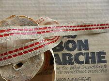 MERCERIE ANCIENNE MODISTE-GALON en LIN FICELLE à POINTILLES ROUGE-1,8cm/Au m