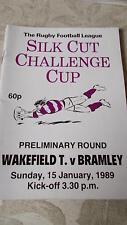 Wakefield Trinity v Bramley programme 15.1.89 Challenge Cup