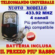 MHZ 433 UNIVERSALE 4 TELECOMANDO CANCELLO CANALI PER CANCELLI FAAC CAME NICE mxb