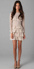 TWENTY8TWELVE RUDY CREAM SILK TIERED RUFFLE DRESS 12 40 8 £250