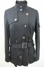 Simon Chang Black Military Belted Stretch Jacket 6 Small Medium $425 BNWT