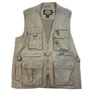 Cabelas Mens Fishing Vest Multi Pockets Tackle Tactical Zip Vented Outdoors Sz L