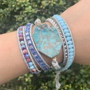 Handmade Natural Stone Emperor & Ocean Jasper Turquoise Beaded Wrap Bracelet
