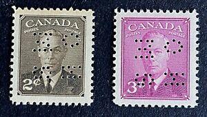 Canadian Stamp, Scott O285/O286 2c & 3c OHMS 1949 King George VI VF/XF M/NH