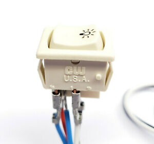 CW Fluorescent Lamp Starter Switch 3A 125V 2 Pole OFF-ON & OFF-OFF-(ON) Rocker
