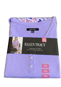 Ellen Tracy 2 Piece Pajama Set Sz XXL Purple Printed Capri Pants NWT