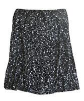Nine & Co. Black White Floral Pull On Waist Mid Calf Stretch Career Skirt XL