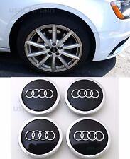 Audi Wheel Center Hub Cap Black Emblem Badge Logo 69mm 4B0601170A, 4 pieces