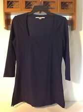 Boston Proper Knit Top Tunic Navy Blue Square Neck 3/4 Sleeve S small